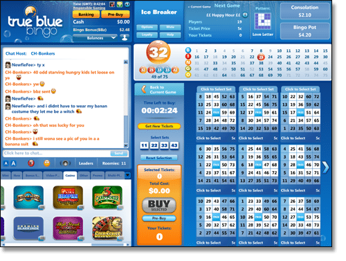True Blue Bingo Casino Games