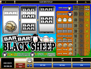 3 reel fruit machines bar bar black sheep