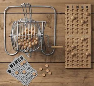 Old wooden bingo game
