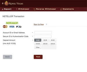 find neteller at royal vegas