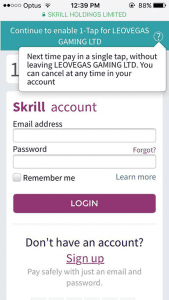 skrill 1tap on apple iphone