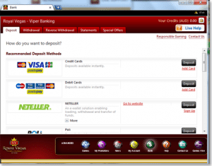 Banking at Royal Vegas Online Casino