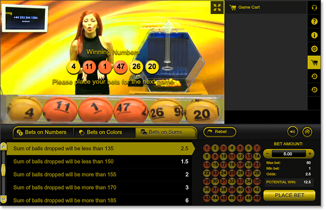 Live Dealer Lottery at Gday Casino