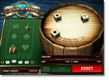 Microgaming's Crown and Anchor Game
