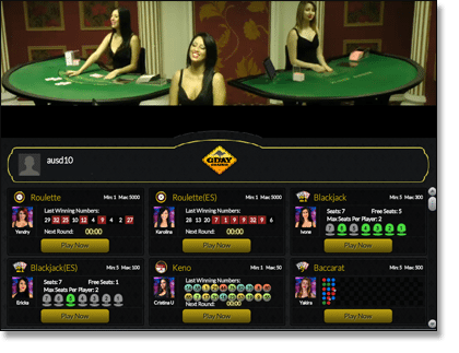 Live Dealer Lobby at Gday Casino