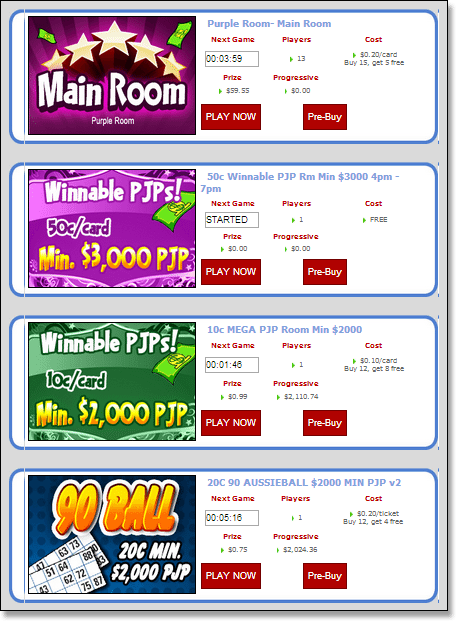 Bingo Australia Rooms