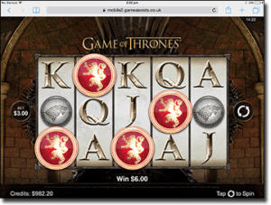 Game of Thrones mobile pokies on tablet