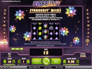 paytable of netents starburst