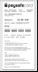 Paysafecard example