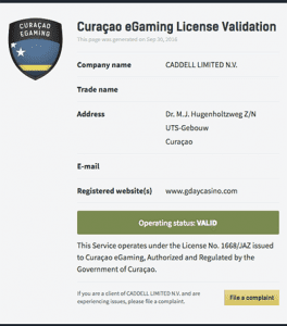 curacao gday license