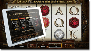 Game of Thrones online pokies on tablet