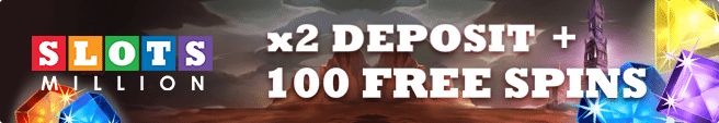 Earn 100 free spins at Slots Million