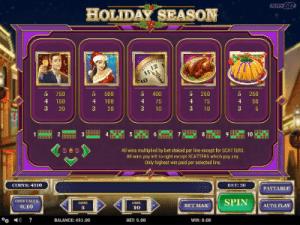 paytable and symbols of holiday season