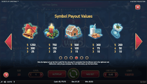 Paytable of Secrets of Christmas NetEnt