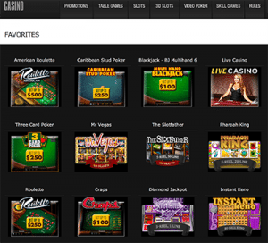 Casino sector at BetOnline