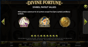Payouts on Divine Fortune