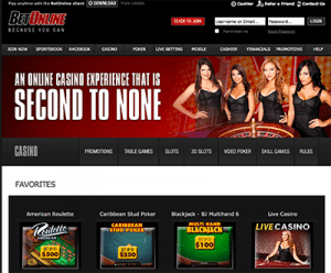 BetOnline casino section