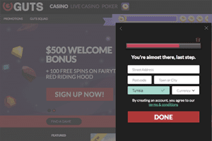 Guts online casino accepts Tunisian players