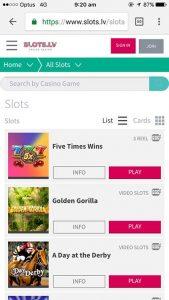 Slots.lv mobile casino interface