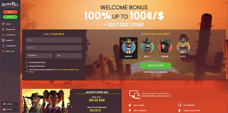 GunsBet online casino review